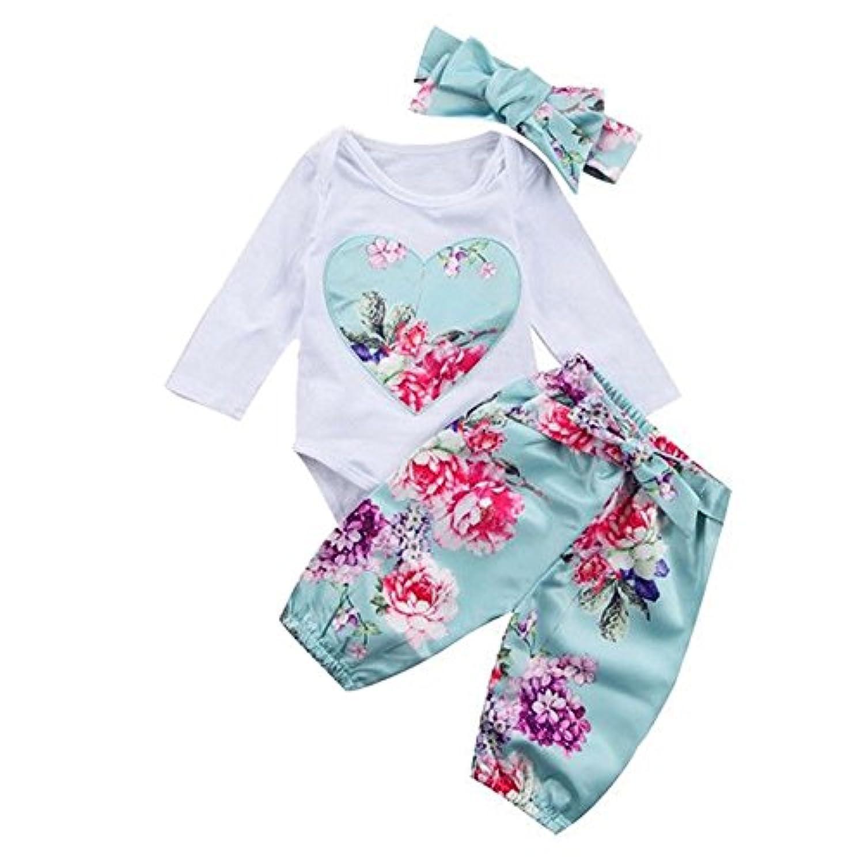 MIOIM ベビー服 上下セット 女の子 Tシャツ 長袖 花柄 可愛い 秋 冬 パンツ セットアップ ヘアバンド付き 新生児 出産お祝い 0-24ヶ月