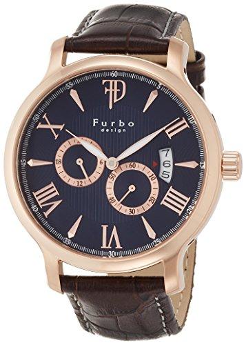[フルボデザイン]Furbo design 腕時計 日本製自動巻ムーブメント搭載 ブラウン革 ブラック文字盤 5気圧防水 F5028PBLBR メンズ