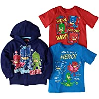 PJ Masks Toddler Boys Combo Set 2 T-Shirts and 1 Hoodie Featuring Catboy, Gekko and Owlette