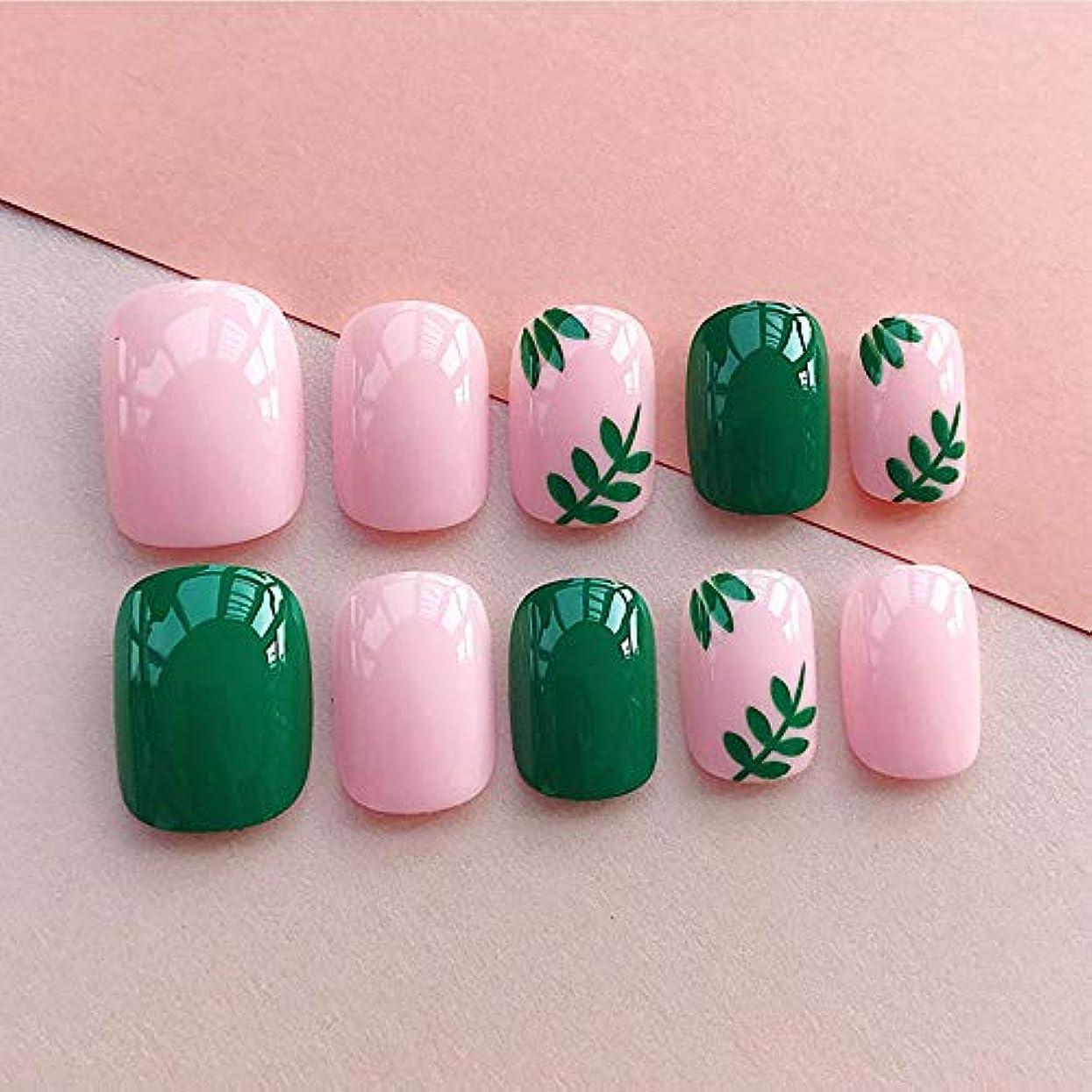 ジャニス木製モンキーネイルチップ 夏の 無地 ピンク 緑の葉 優雅 短い 四角形 フルカバー 24枚 12別サイズ つ