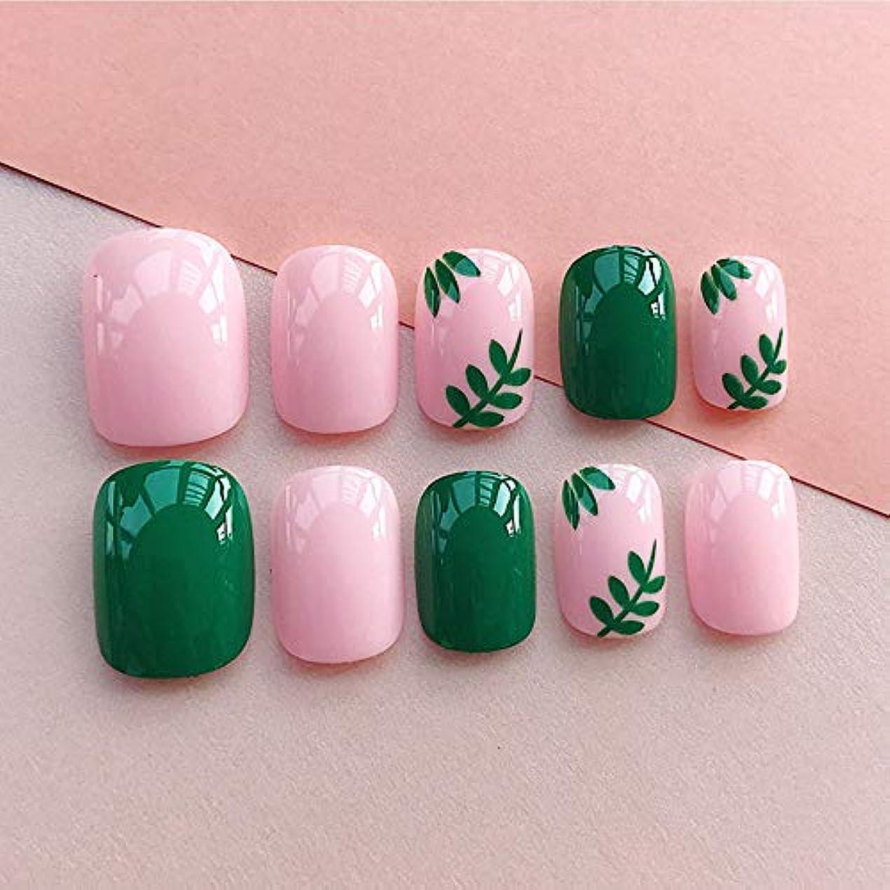 海軍パワーセル花弁LIARTY ネイルチップ 夏の ピンク 緑の葉 優雅 短い 四角形 フルカバー 24枚 12別サイズ つ