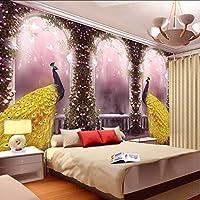 Wxmca ドリームスペースダブルピーコックフラワー壁画用寝室のソファーの背景の壁紙3D写真壁画壁紙-250X175Cm
