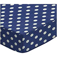 SheetWorld Fitted Cradle Sheet - Primary Polka Dots Navy Woven - Made In USA by sheetworld
