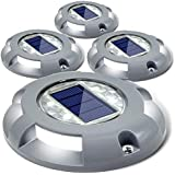 Siedinlar Siedinlar iedinlar LED Deck Driveway Waterproof Path Road Solar Step Lights for Outdoor Pathway Stairs Garden Patio Yard (4 Pack), Grey, Solar Deck Lights, 1.5V