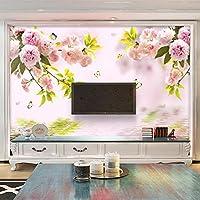 Gyqsouga カスタム壁画壁紙3Dファッションシンプルな桜の背景壁画リビングルームの寝室ロマンチックな家の装飾フレスコ-120X100CM