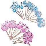 KOZEEY 36本 ベビーシャワー キャリッジ/ビブ/ガラガラ カップケーキトッパー It's A Girl Boy ブルー+ピンク