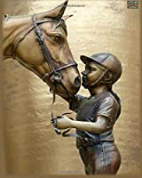Write Here Journals: Horse Journal Edition Custom Journal Lined Paper 150 Pages 8x10 Glossy Cover Finish Girl and Horse Statue