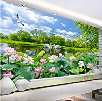 Mingld 中国風の写真の壁紙3D白鳥湖蓮池壁画リビングルームテレビソファの背景壁Painting3Dサラ-250X175Cm