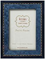 Eccolo Made in Italy Marquetry木製フレーム、ツートンカラーブルーとブラック、Holds an 8x 10-inchフォト
