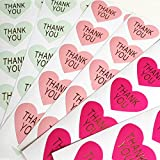 Thank you シール ハート型 金文字 3色 直径 3.2cm TY-14 (3色mix 各30片計90片)