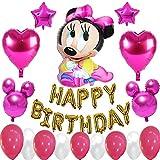 誕生日パーティー用品 装飾バナーバルーン ミニーマウス装飾 女の子用 子供用 ピンク