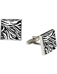 ブラック/ホワイト/シルバーZebra Animal Print Cufflinks by Tyler and Tyler