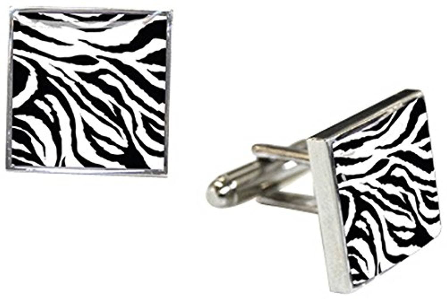 ブラック/ホワイト/シルバーZebra Animal Print Cufflinks by Tyler and Tyler