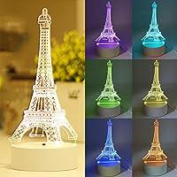 3D イリュージョン プラットフォーム ナイトライト ギター 7色 装飾 リモートコントロール 3D ナイトタッチ ボタンランプ 子供 子供 家族 休日 誕生日 ギフト Eiffel Tower ブラック