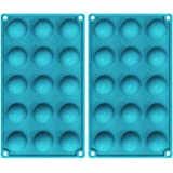 TOSFOGO 2 Pcs 15 Holes Silicone Semi Sphere Mold, Half Round Baking Molds for Making Hot Chocolate Bomb, Cake, Jelly, Dome Mo