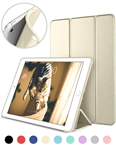 DTTO iPad Mini 1/2/3 ケース 超薄型 超軽量 TPU ソフト PUレザー スマートカバー 三つ折り スタンド スマートキーボード対応 キズ防止 指紋防止 [オート スリープ/スリー プ解除] シャンパンゴールド