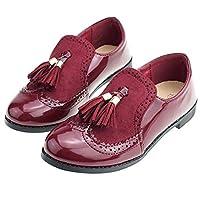キッズウイングチップシューズ ローファーパンプス女の子 超可愛いフォーマル靴 キッズ 入学式 キッズ 子供フリンジ 靴 ドレスにも Navy,170