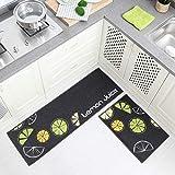 HUIDUO 2枚セット キッチンマット 台所マット 洗える 吸水 速乾 滑り止め 足ふきマット 玄関マット 40x60cm+40x120cm (Lemon)