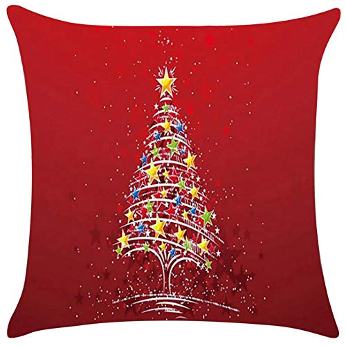 Qisc 刺繍 スローピローケース 18x18 クリスマス ...