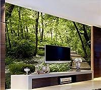 Gyqsouga カスタム壁紙3D壁画橋水木製橋木材スペース背景壁リビングルーム壁紙-120X100CM