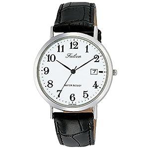 [シチズン キューアンドキュー]CITIZEN Q&Q 腕時計 Falcon ファルコン アナログ 革ベルト 日付 表示 ホワイト D020-304 メンズ