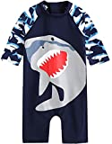 [Vaenait Baby] 0-24ヶ月UVカット ラッシュガードベビー子供男の子長袖ワンピース水着Baby Cooling Jaws S