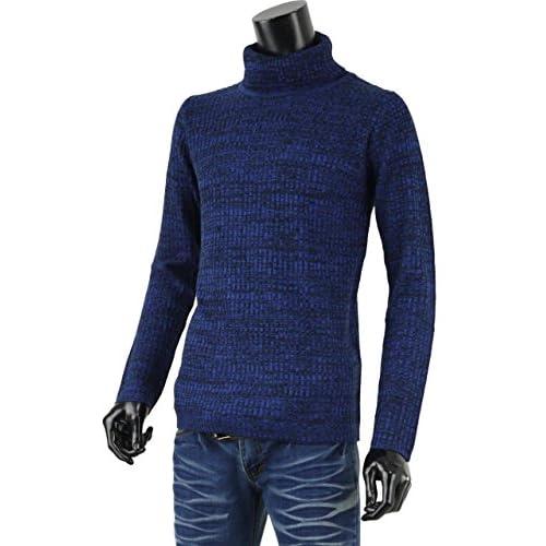 タートルネック ニットソー セーター メンズ 無地 長袖 G250902-08 ブルー杢 LL