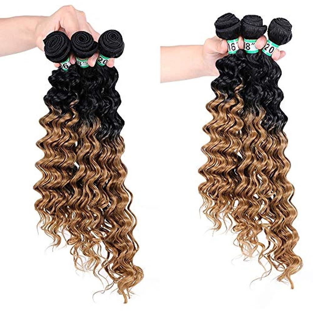 チャーターお客様クリエイティブBOBIDYEE ディープカーリーウェーブ3バンドルブラジルのヘアエクステンション - T1 / 27#茶色の合成髪レースかつらロールプレイングかつらロングとショートの女性自然 (色 : ブラウン, サイズ : 16