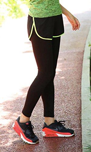 (Bethesda Park) レディース 5色 ショートパンツ一体型 スパッツ レギンス ロングパンツ ストレッチタイツ フィットネス トレーニング (23. イエロー S)