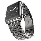 Kartice for Apple Watch /Apple Watch 2バンド 高級ステンレスベルド アップルウォッチ/ Apple Watch Series 3/New Apple iWatch Series 2に対応 バンド ラグ付きfor Apple Watch(38mm ブラック)