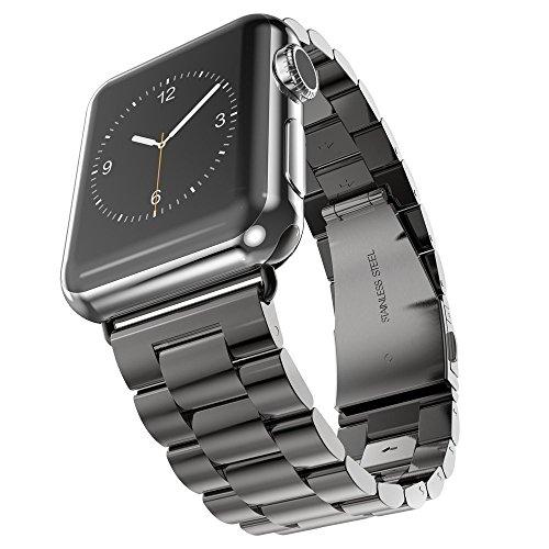 Kartice Apple Watch /Apple Watch 2バンド 高級ステンレスベルド アップルウォッチ/ New Apple iWatch Series 2 /Apple Watch Series 1 に対応 バンド ラグ付きfor Apple Watch(42mm ブラック)