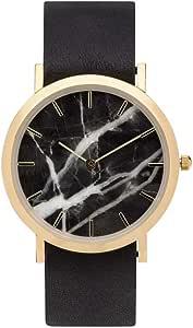 [アナログウォッチコー] 腕時計クラッシック大理石(黒) 黒色革バンド 正規輸入品 (ブラック)