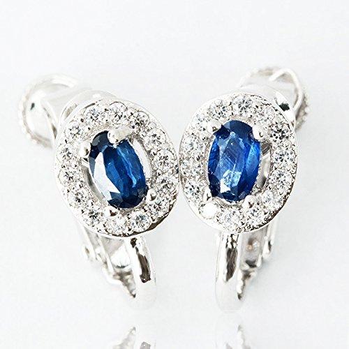 One&Only Jewellery 【鑑別書付】 計0.6ct 天然 サファイア 取り巻き イヤリング K18GP 宝石の王様 9月誕生石