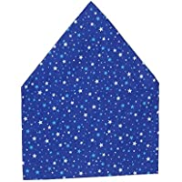 子供が自分でかぶれるゴム付き子供用三角巾 無地(紺・赤・ピンク・水色・格子柄水色・格子柄ピンク・白) (スター青)