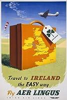 "tx33ビンテージ1950旅行にアイルランドのアイルランド簡単な方法航空旅行ポスターre-print–4異なるサイズを選択a4/ a3/ a2+ / a140 A1 (841 x 610mm) 33"" x 24"" TX33A1"