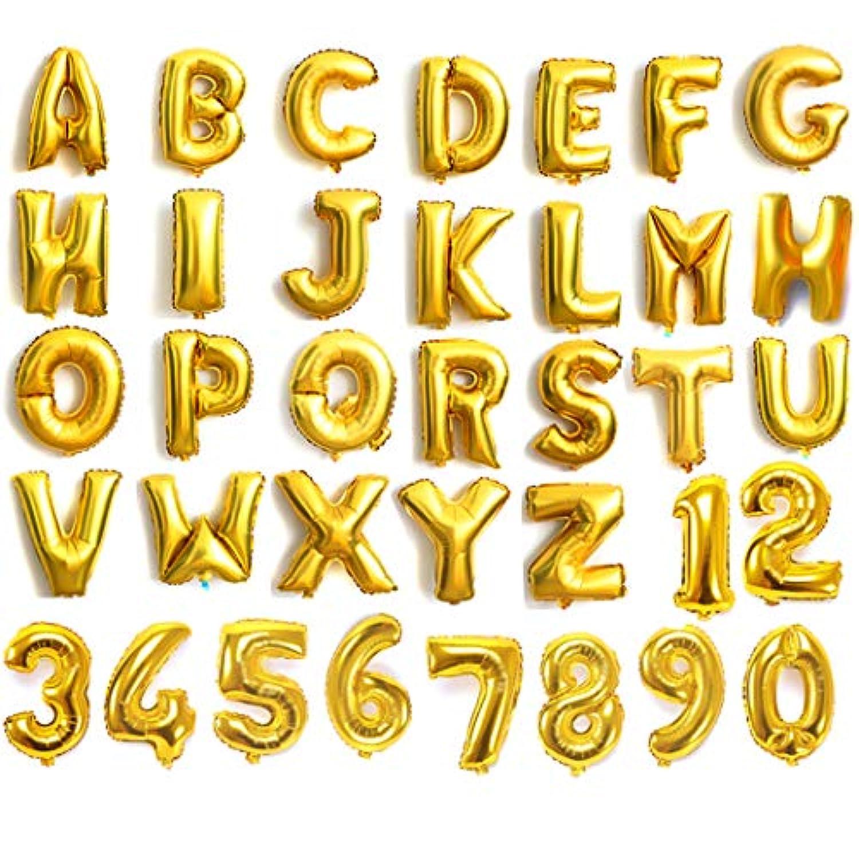 ゴールドシルバーブルー&ピンク16アルファベット文字A - Z &数0 – 9ホイルバルーンウェディングパーティー用名前non-float (番号9、ゴールド) by 4youquality
