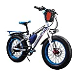 Cyrusher RT-015 FATBIKEファットバイク電動バイク20 インチ 自転車 シマノ製 7段 変速ギア付き ディスクブレーキ4色 極太タイヤ BMX マウンテン バイク クロスバイク 350w 36v 大容量の10.4Ahリチウムバッテリー (ブルー)