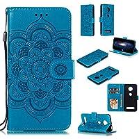 Moto Z4 Play PU Leather Case, WVYMX [Flower Embossing] 耐衝撃 合皮レザー 超薄型 カード収納 ワイヤレス充電対応 マグネット スタンド 機能 人気 手帳型ケース for Motorola Moto Z4 Play Blue