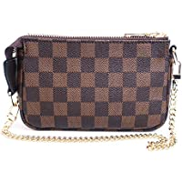 Blush Cotton Luxury Checkered Mini Handbag with Bonus Crossbody Chain Vegan PU Leather and Canvas