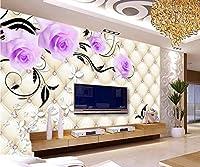 Minyose 壁紙 カスタム3D壁紙ヨーロッパパターンダイヤモンドジュエリー花テレビの背景の壁の壁紙現代の装飾画