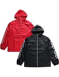 【Z18PJ01-2】 ゼファレン Zephyren アウター ナイロンジャケット 長袖 かっこいい フード付き バンダナ 刺繍 袖プリント アメカジ 正規品 赤 黒