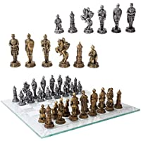 Medieval Warfare Age Of Knights & Kings Resin Chess Pieces With Glass Board Set by DWK [並行輸入品]