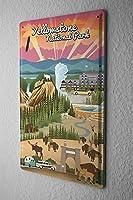 """アンティーク 看板 World Tour Yellowstone室内装飾家、パブ、ビール、ガレージ、庭、コーヒー、寝室、リビングルーム8x12"""""""