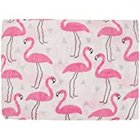 Baby Muslin Swaddle Blanket 47x47 100% Cotton Soft Unisex for Boys or Girls Printed Floral Nursing Receiving Swaddle Wrap Burp Cloth Stroller Cover (Flamingo) [並行輸入品]