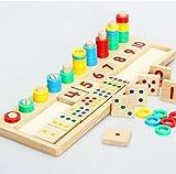 知育 玩具 モンテッソーリ 幼児 子供 教育 教材 木のおもちゃ シリンダー ブロック パズル 木製 視覚 認識 器用 数遊び 幾何学 認知 数字 時計 脳 活性化 はめこみ パズル 棒さし (数と計算)