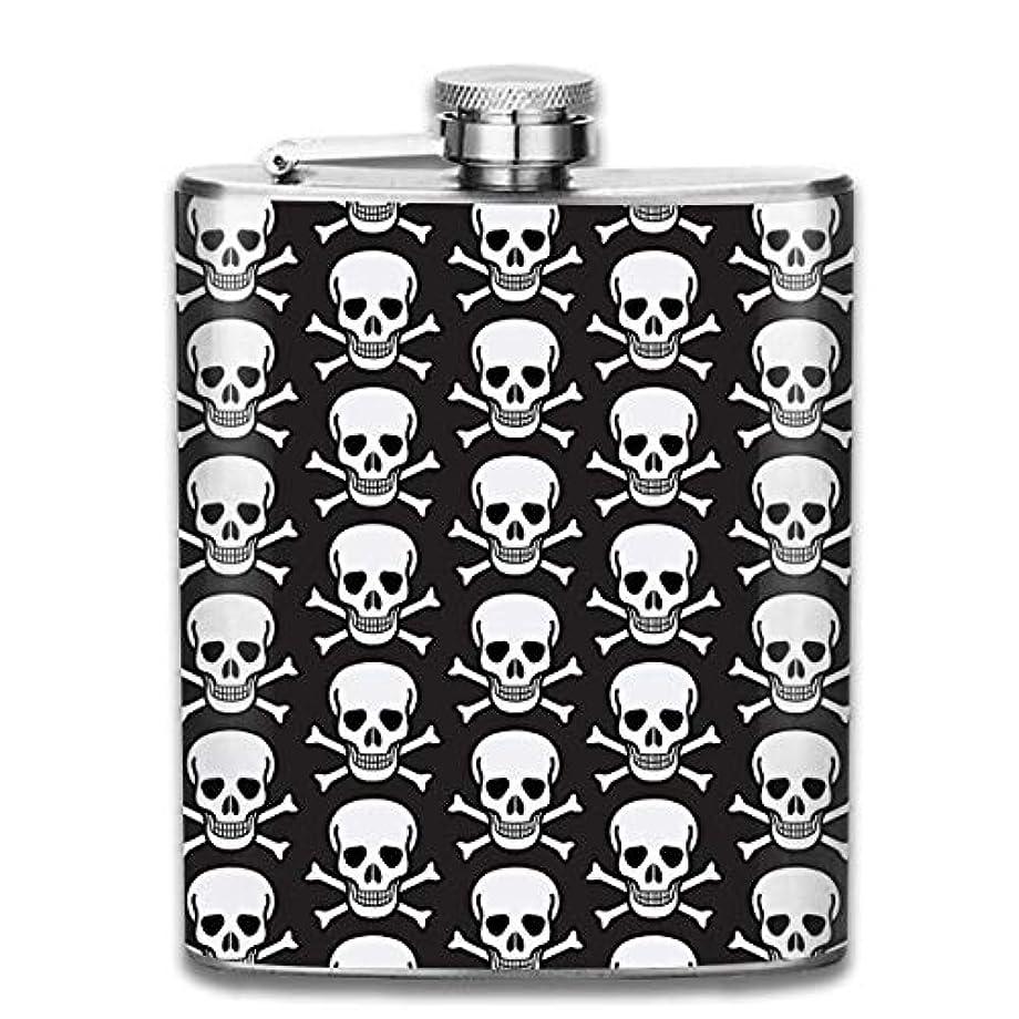 リハーサルリクルートキャロラインスカル ブラックフラスコ スキットル ヒップフラスコ 7オンス 206ml 高品質ステンレス製 ウイスキー アルコール 清酒 携帯 ボトル
