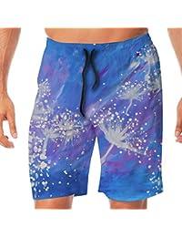 メンズ水着 ビーチショーツ ショートパンツ タンポポ 水彩画 スイムショーツ サーフトランクス 速乾 水陸両用 調節可能