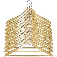 Qualsen 木製ハンガー 衣類ハンガー 洋服ハンガー すべらない 肩部分に凹み付き 滑り止め スーツ・シャツ・コート用 おしゃれ ナチュラル色 10本組セット