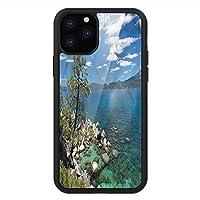 iPhone 11 Pro Max 用 強化ガラスケース クリア 薄型 耐衝撃 黒 カバーケース 自然 タホ湖の木雲 iPhone 11 Pro 2019用 iPhone11ケース用