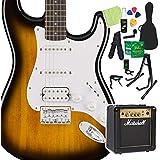 Squier by Fender Bullet Stratocaster HSS Hard Tail Brown Sunburst エレキギター 初心者14点セット マーシャルアンプ付 ストラト スクワイヤー/スクワイア